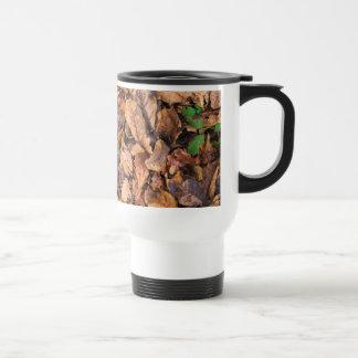 Hojas secas del otoño y tréboles verdes taza de café