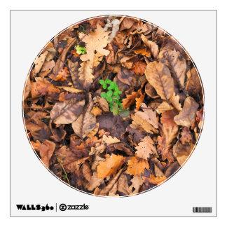 Hojas secas del otoño y tréboles verdes vinilo adhesivo