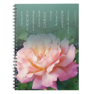 Hojas subiós rosa del verde del rezo de la libros de apuntes