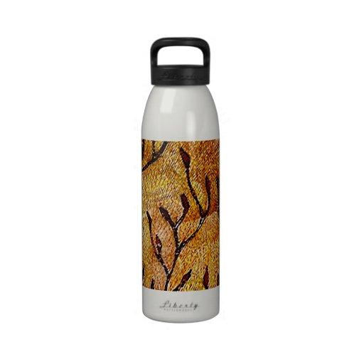 Hojas talladas mano del arte de la fibra - tonos a botella de agua