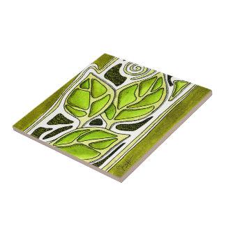 Hojas talladas mano en verde azulejo cuadrado pequeño
