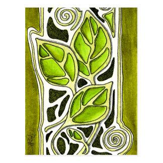 Hojas talladas mano en verde postal