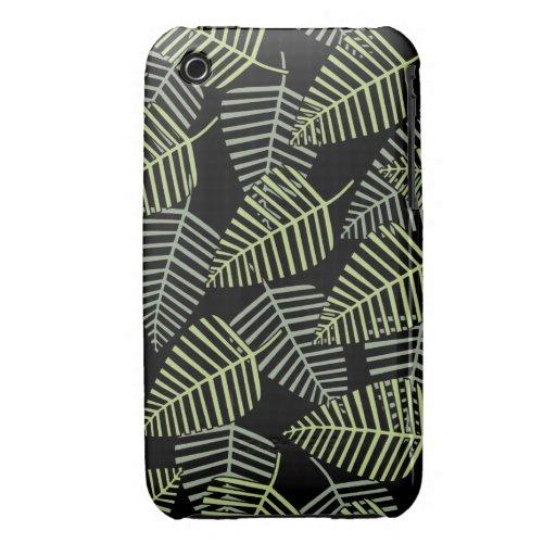 Hojas tropicales en negro iPhone 3 Case-Mate protector