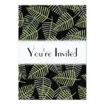 Hojas tropicales en negro invitación 12,7 x 17,8 cm