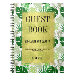 Hojas tropicales verdes exóticas del Guestbook el Libreta