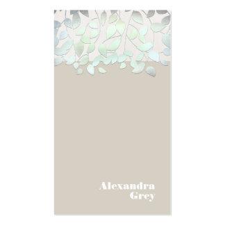 Hojas verdes azules claras elegantes de la mirada tarjetas de visita