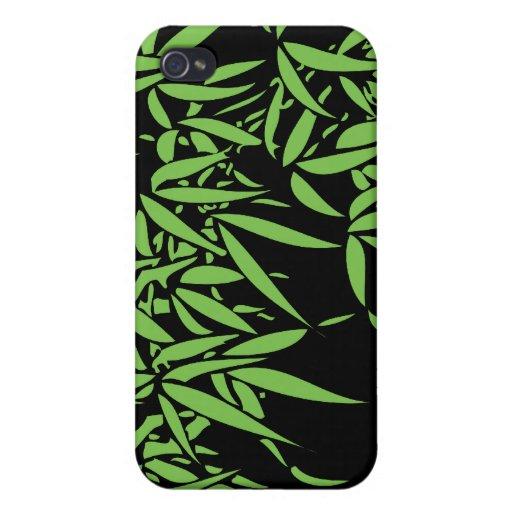Hojas verdes claras del bambú en negro iPhone 4 cárcasa