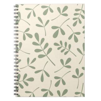 Hojas verdes clasificadas en el diseño poner crema libro de apuntes
