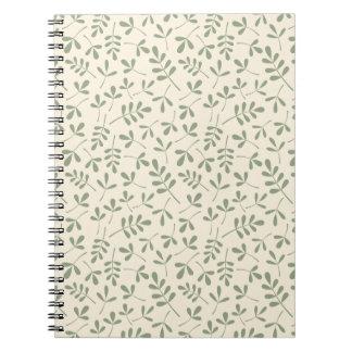 Hojas verdes clasificadas en el modelo poner crema cuadernos