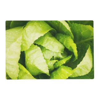 Hojas verdes de la lechuga con las gotas de agua tapete individual