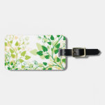 Hojas verdes de la primavera etiquetas para equipaje
