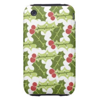 Hojas verdes del acebo y modelo rojo de las bayas tough iPhone 3 cobertura