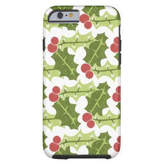 Hojas verdes del acebo y modelo rojo de las bayas funda de iPhone 6 tough