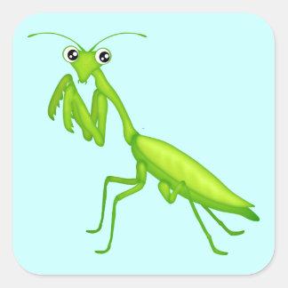 Hojas verdes del pegatina de la mantis religiosa