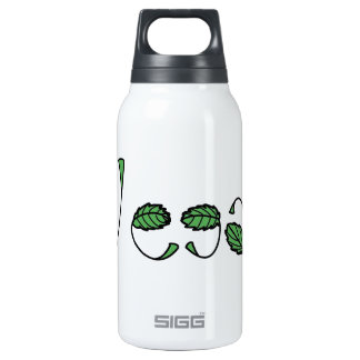 Hojas verdes del vegano botella isotérmica de agua