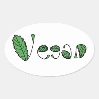 Hojas verdes del vegano colcomanias de óval