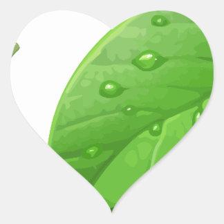 Hojas verdes pegatina en forma de corazón
