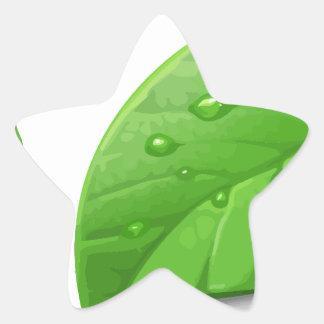 Hojas verdes pegatina en forma de estrella