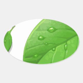 Hojas verdes pegatina ovalada
