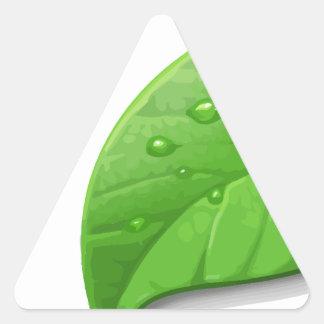 Hojas verdes pegatina triangular