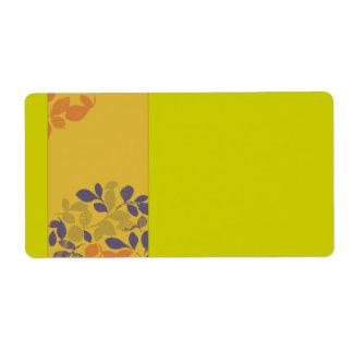 Hojas verdes púrpuras del naranja etiqueta de envío