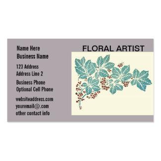Hojas y bayas botánicas de la hiedra de la estació tarjetas de visita