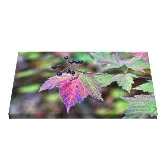 Hojas y bayas de otoño del Viburnum de Mapleleaf Impresión En Tela