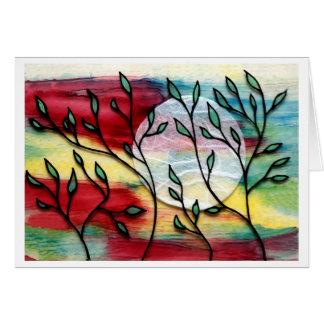 Hojas y capas transparentes de la tinta tarjeta pequeña