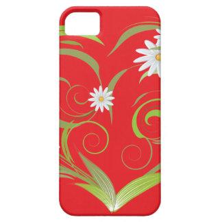 Hojas y flores en rojo iPhone 5 cárcasa