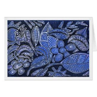 Hojas y flores talladas mano - en azul tarjetas