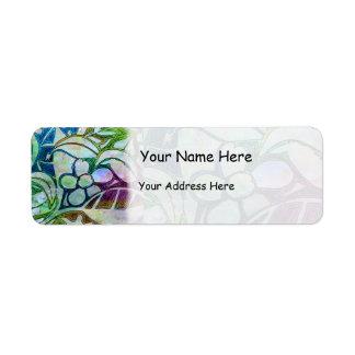 Hojas y flores talladas mano - en azulverde etiqueta de remite