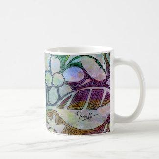 Hojas y flores talladas mano - en azulverde taza de café