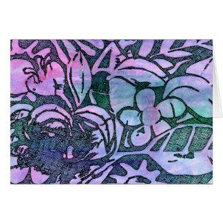 Hojas y flores talladas mano - en lavanda rosada felicitaciones