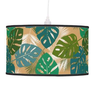 Hojas y frondas tropicales de la isla lámpara de techo