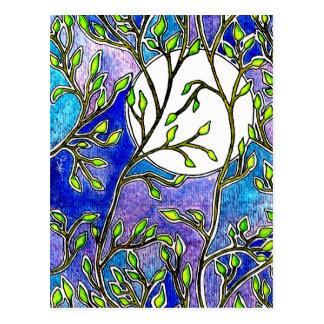 Hojas y luna - acuarelas azules postales