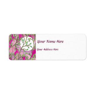 Hojas y luna - acuarelas rosadas etiqueta de remite