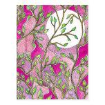 Hojas y luna - acuarelas rosadas postal