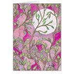 Hojas y luna - acuarelas rosadas tarjeta de felicitación