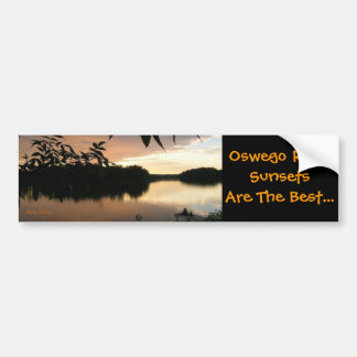hojas y pescadores, puesta del sol del agua del rí pegatina para auto