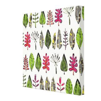hojas y plumas impresión en tela