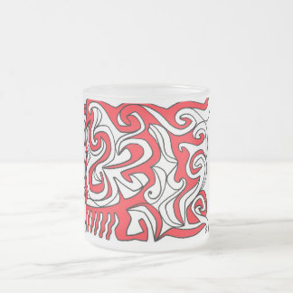 Hoke Abstract Expression Red White Black 10 Oz Frosted Glass Coffee Mug