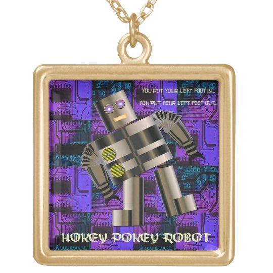 Hokey Pokey Robot Gold Plated Necklace