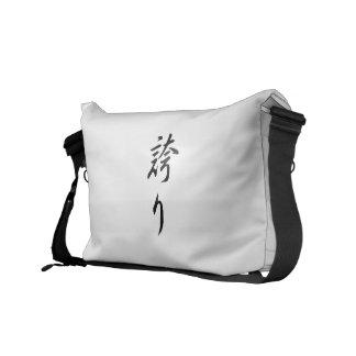Hokori (kanji del orgullo) bolsa de mensajeria