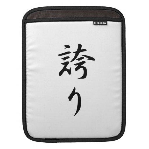 Hokori (kanji del orgullo) funda para iPads