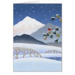 Hokusai - árboles del invierno tarjetón