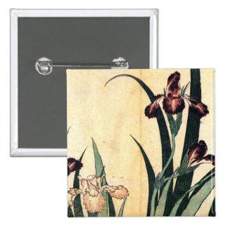 Hokusai Art painting Iris Flowers Button