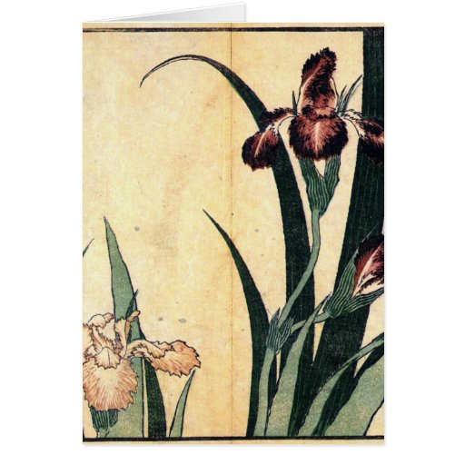 Hokusai Art painting Iris Flowers Card
