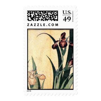 Hokusai Art painting Iris Flowers Stamp