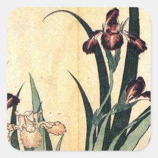 Hokusai Art painting Iris Flowers Square Sticker