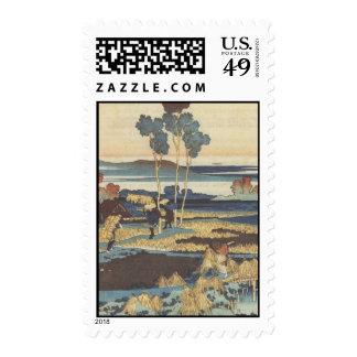 Hokusai Art painting Landscape Stamps